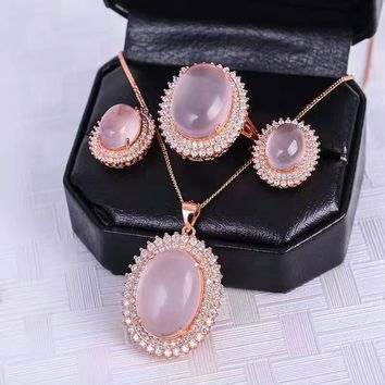 Luxurious rose quartz  silver jewelry set natural big size rose quartz gemstone jewelry solid 925 silver jewelry romantic gift