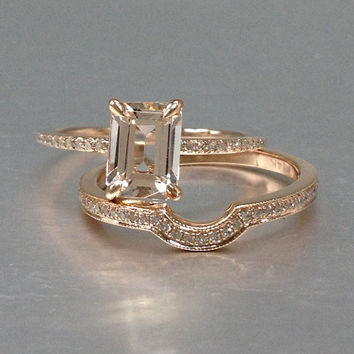 2 Morganite Bridal Set,Engagement ring Rose gold,Diamond wedding band,14k,6x8mm Emerald cut,Gemstone Promise Ring,Claw Prongs,Pave,Curved