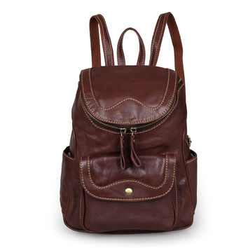 New Designs Vintage Genuine Leather Brown Small Backpack for Girls Daily Rucksack_Backpacks_Women's Leather Bags