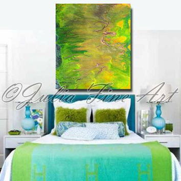 Green Abstract Painting, Giclee, Fine Art Print, Landscape, Gold, Yellow, Brown, Copper, Modern Canvas Wall Art Decor, Julia Apostolova