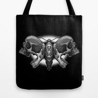 Death's Ahead - Grayscale Tote Bag by Artistic Dyslexia | Society6