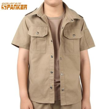 EXCELLENT ELITE SPANKER Summer Boys Kids Turn-down Collar Solid Shirt Tactical Children Camouflage Sports Cotton Polyester Shirt