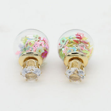 Multicolor Hollow Star Decorated Ball Crystal Detail Earrings