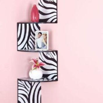 Homeaxcess Zebra Corner Wall Shelf