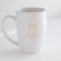 Boss Lady Mug - Gold Lettering