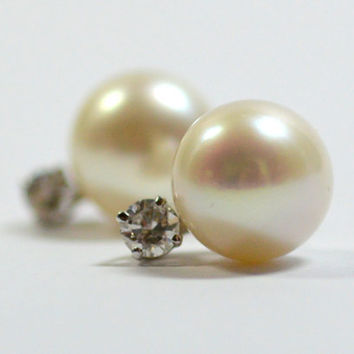 Classic Cultured Pearl and Diamond Earrings