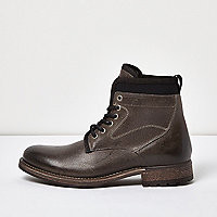 Black leather textile lined boots - boots - shoes / boots - men
