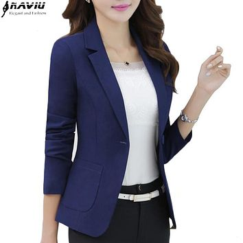 2016 New elegant long-sleeve casual blazers spring autumn plus size all-match formal slim jacket office fashion work wear