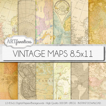 "Vintage maps 8.5x11 digital paper, ""VINTAGE MAPS"" #backgrounds,antique maps, old world, America, Europe, Asia, Australia #scrapbooking"