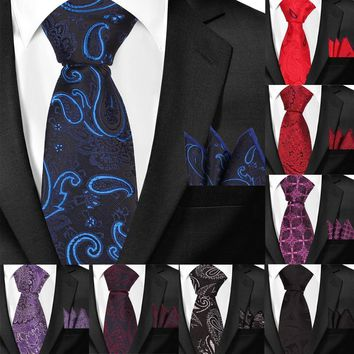 Classic Floral Skinny Neckties and Hanky Set For Men Formal Wedding Party