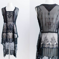 NEW LISTING Vintage 1920s Authentic Silk Chantilly Lace Chiffon Beaded Flapper Dress