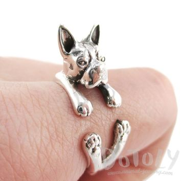 Boston Terrier Dog Shaped Animal Wrap Ring in 925 Sterling Silver | US Sizes 5 - 8.5