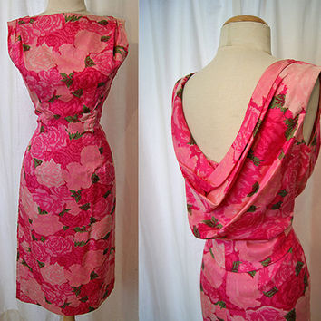 Couture Silk Rose Print cocktail dress by Suzy Perette Rockabilly VLV  designer Party  Designer Dress size Medium