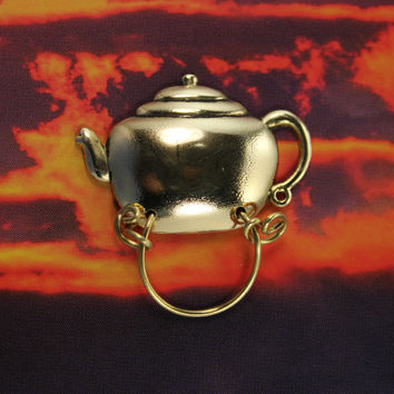 14 Karat Gold Plated Brass Teapot Magnetic Eyeglass Holder or Brooch