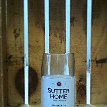 NEW! Sutter Home Moscato Repurposed Wine Bottle Soy Candle