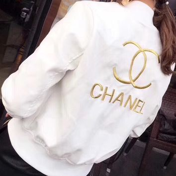 CHANEL female Leather clothing Embroidery Loose coat