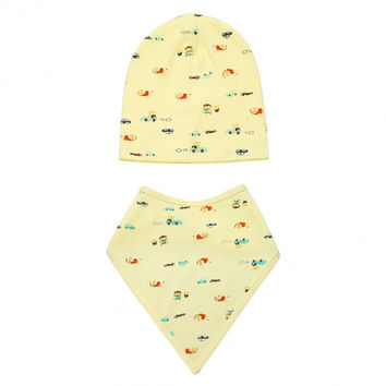 Fashion Infant Newborn Baby Unisex Hats Cute Lovely Print Beanies Cap Hat With Bib