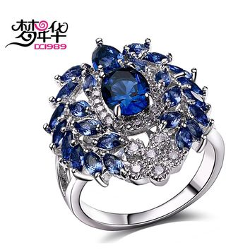 DreamCarnival 1989 Women Engagement Rings Luxury Blue Red Green CZ Paved Ladies Wedding Party Jewelry Rhodium Anillos Mujer Moda