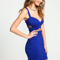 Royal Bandage Wrap Bodycon Dress