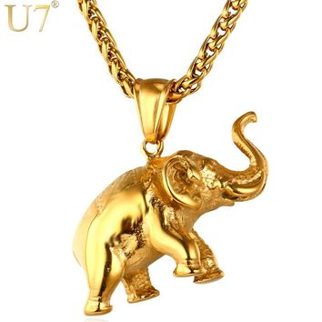 U7 Stainless Steel Gold Color Elephant Necklace Trendy Men Jewelry Charm Pendant & Chain Animal Lucky Jewelry Gift P755