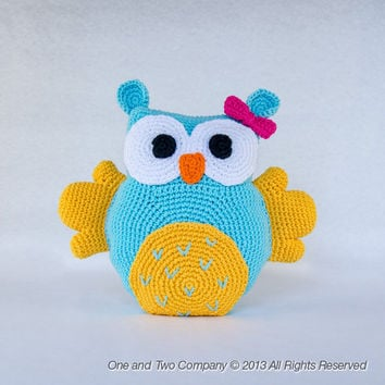 Owl Pillow - PDF Crochet Pattern - Instant Download - Animal Cushion Crochet Nursery Baby Shower decor