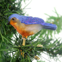 Old World Christmas MINI SONGBIRD Glass Happiness Joy Spring 18042 Blue