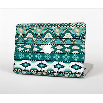 The Vector Teal & Green Aztec Pattern  Skin Set for the Apple MacBook Pro 13""