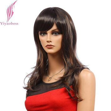 ICIKION Yiyaobess 22inch Synthetic Hair Womens Mix Dark Brown Highlight Wig Long Wavy Wigs For African Americans Japanese Fiber
