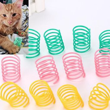 usd0.39/pc Pet Wide Durable Heavy Gauge Plastic Colorful Springs Cat Toy playing toys for kitten 10pcs/lot