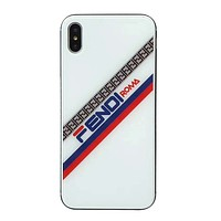Fendi Fashion New More Letter Print Women Men Protective Cover Phone Case White