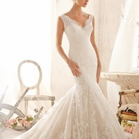 Mori Lee 2605 V-Neck Lace Wedding Dress