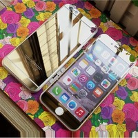 Colorful Premium Tempered Protective Mirror Effect Glass Film Screen Protector for iPhone 6/6s with High Definition (HD) Anti-Scratch (Gold-Front+Back)