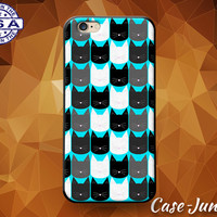 Cat Head Pattern Pop Art Blue Kitty Cute Tumblr Custom Case For iPhone 4 and 4s and iPhone 5 and 5s and 5c and iPhone 6 and 6 Plus +