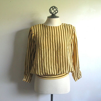 Vintage 1980s Silk Blouse Yellow Stripe Blouson Top 6