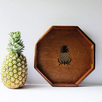Pineapple Motif Wooden Serving Tray - Decorative Vintage Wood Tray - Hospitality Symbol Housewarming Gift - Home Decorating - Wall Hanging