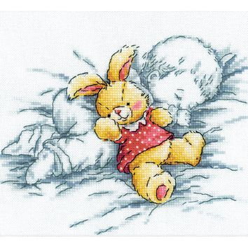 "RTO Counted Cross Stitch Kit 8""X7.25""-Baby W/Rabbit (14 Count)"