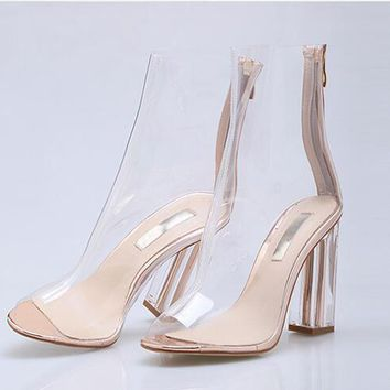 Sexy heel women shoes with peep toe 9 cm high clear heels Summer women ankle boots air mesh and perspex details gold black boots