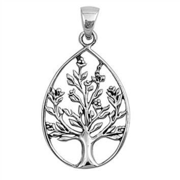 "Sterling Silver Tree of Life Wiccan Pendant 31MM (Free 18"" Chain)"
