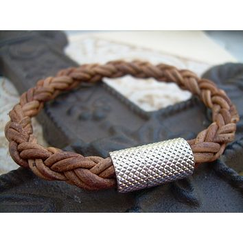 Mens Leather Bracelet, Mens Bracelet Leather, Mens Braided Bracelet, Natural Light Brown, Stainless Steel Magnetic Clasp, Mens Jewelry,