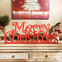 Glittered Red Merry Christmas Tabletop Sign