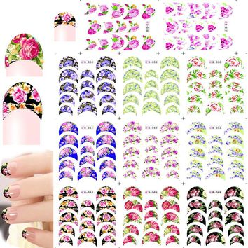 1sets 11 designs Fashion Flower French Tips Watermark Stickers Nail Foils Sets Decals Series for Manicure Pedicure B056-066