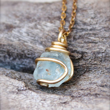 Blue Topaz Necklace - Light Blue Stone Necklace - Natural Raw Stone Jewelry - Bohemian Necklace - Gypsy Boho Jewelry - Rough Topaz Jewelry