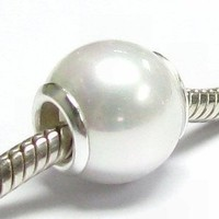 White Simulated Seashell Pearl Bead Sterling Silver Grommets For European Charm Bracelets