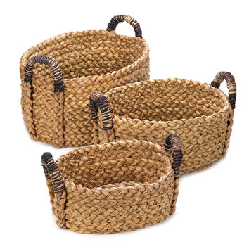 Woven Storage Basket, Wicker Baskets For Storage, Straw (set Of 3)