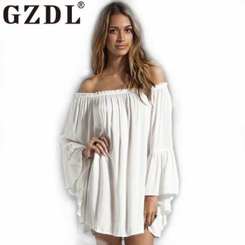 GZDL Hot Women's Fashion Lolita Solid Chiffon Off-Shoulder Slash Neck Flare Long Sleeve Pleat Party Mini Dresses Vestidos CL3193