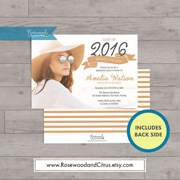 Ribbon Grad Party Invitation, Photocard Graduation Invitation, Brown or Blue, Graduation Announcement, Senior Graduation Printable