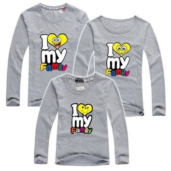 My Family I Love T Shirts Summer Family Matching Clothes Father Mother Kids Children Outfits New Cotton Mother Daughter T Shirts