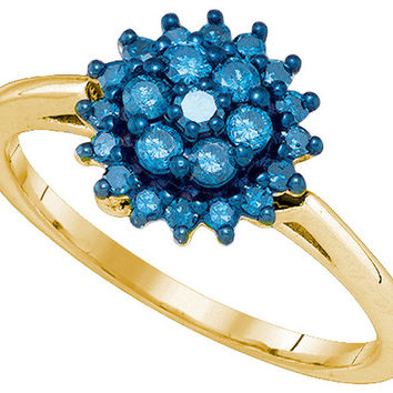 10kt Yellow Gold Womens Round Blue Colored Diamond Flower Cluster Ring 3/8 Cttw 80468