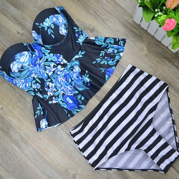 2017 New Print Bikinis Women Swimsuit High Waist Bathing Suit Plus Size Swimwear Push Up Bikini Set Vintage Retro Beach Wear -0313