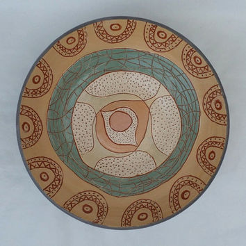 Ceramic Plate - Handmade, Decorative Pottery Plate, Green Plate from Clay